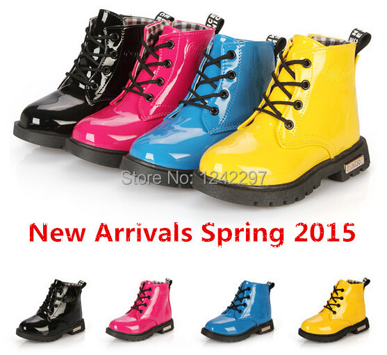 New Arrival Spring 2015 Children's Martin boots Kids Ankle boots Boys Girls shoes Rain boots Patent leather Snow boots 07(China (Mainland))
