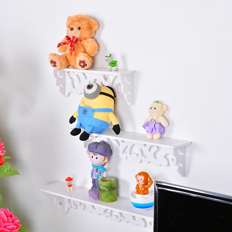 S/M/L Sized Goods Convenient Rack Storage Holder Home Bedroom Decoration Ledge Wood Plastic Composite White Wall Hanging Shelf(China (Mainland))