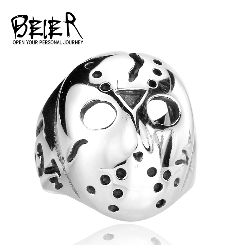 Men's Biker Jason Voorhees Hockey Mask Ring Friday the13th 316L Stainless Steel Band Factory Price Wholesale BR8-052 US size(China (Mainland))