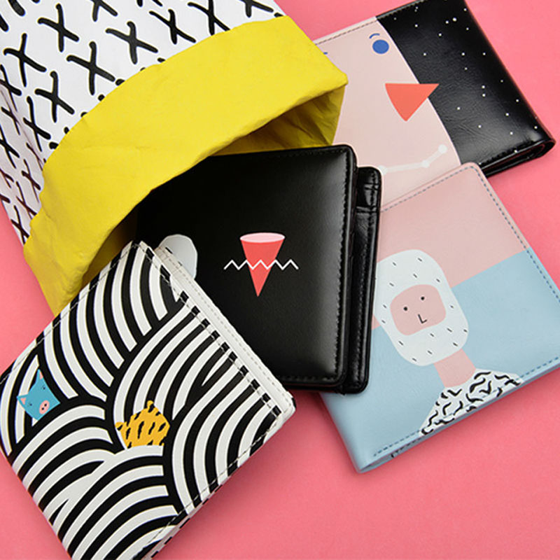 Yizi PU soft leather short wallet cross small fresh paper student creative wallet multi-card position two fold wallet(China (Mainland))