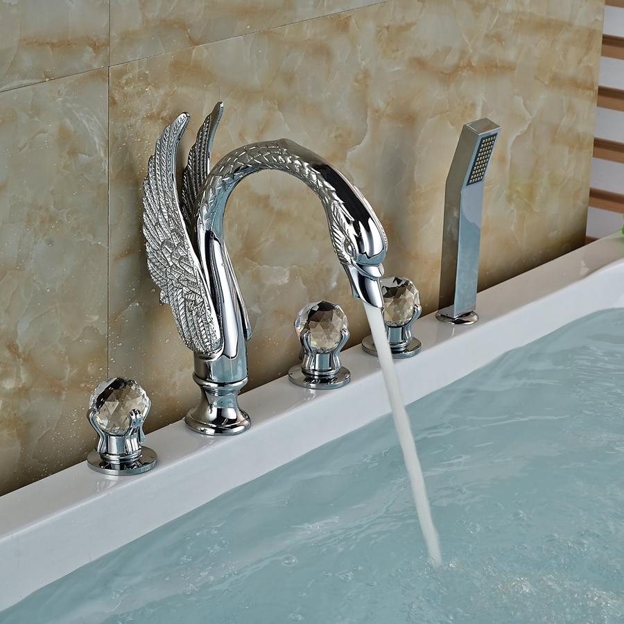 Luxury Crystal Handles Chrome Brass Bathroom Tub Faucet W Hand Sprayer Mixer In Bath Shower