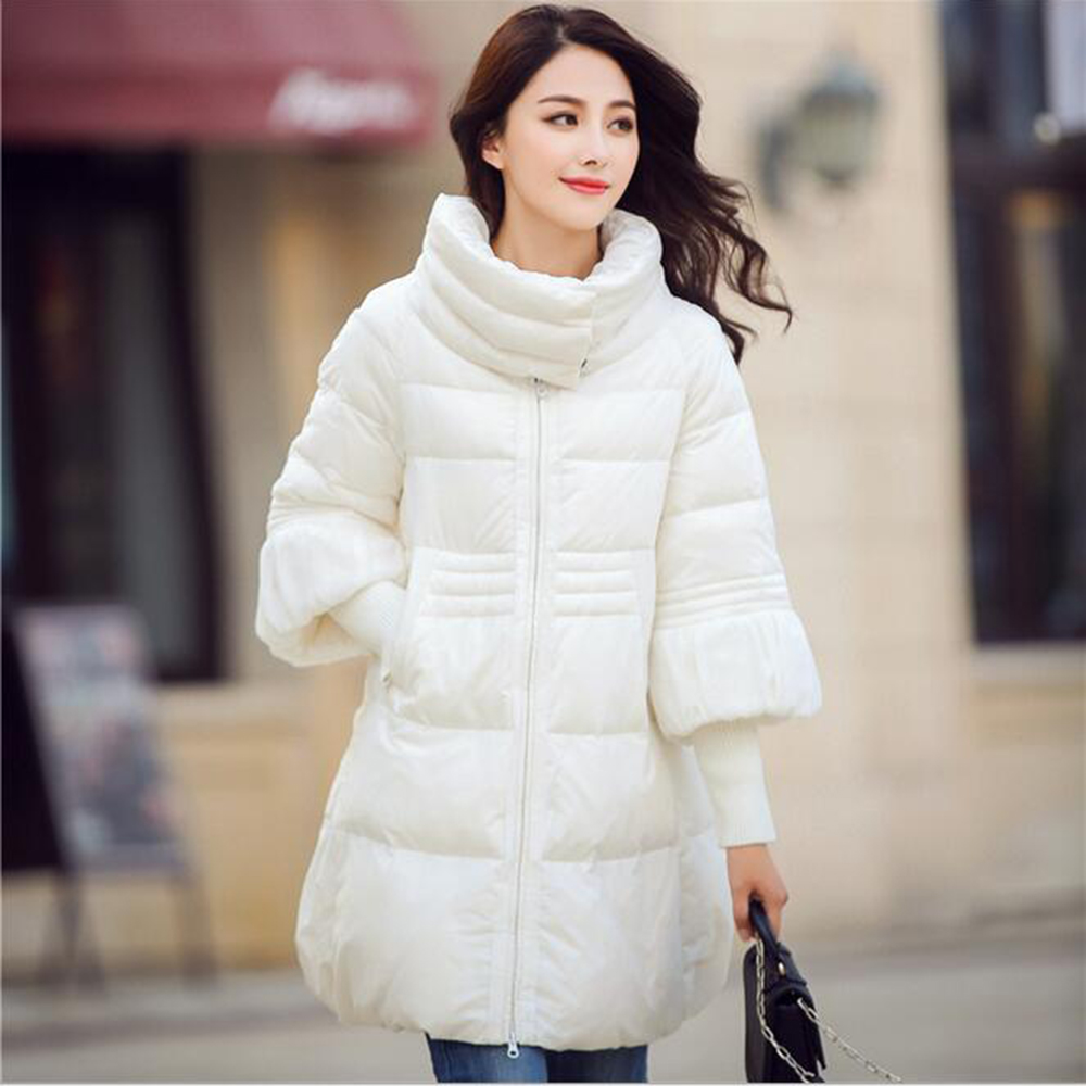 Winter new womens jacket knit ribbed stitching sleeve A word skirt hem cape loose fashion cotton down parkas plus sizeОдежда и ак�е��уары<br><br><br>Aliexpress