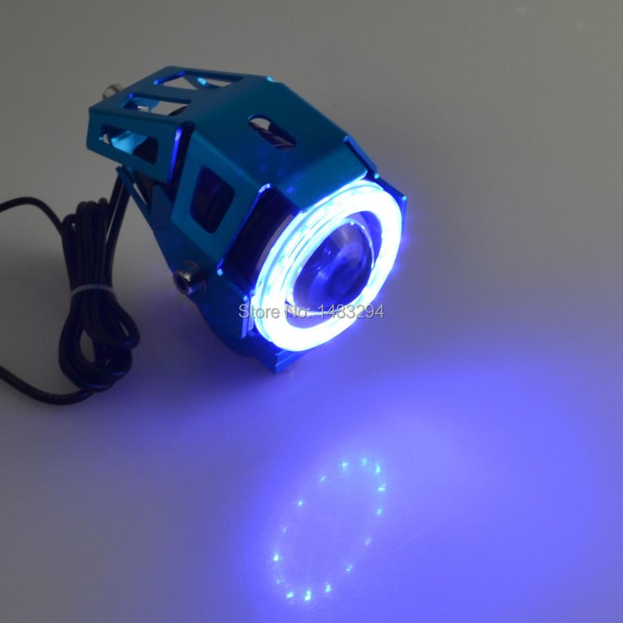 Blue Halo Eyes 125W Blue Motorcycle 3000LMW High/Low Beam & Flash CREE U5 LED Driving Fog Spot Head Light Lamp Headlight(China (Mainland))