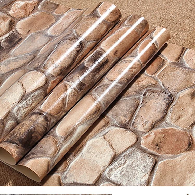 Free Shipping Stereoscopic 3D simulation cultural stone brick pattern wallpaper waterproof PVC wallpaper bedroom, living room TV