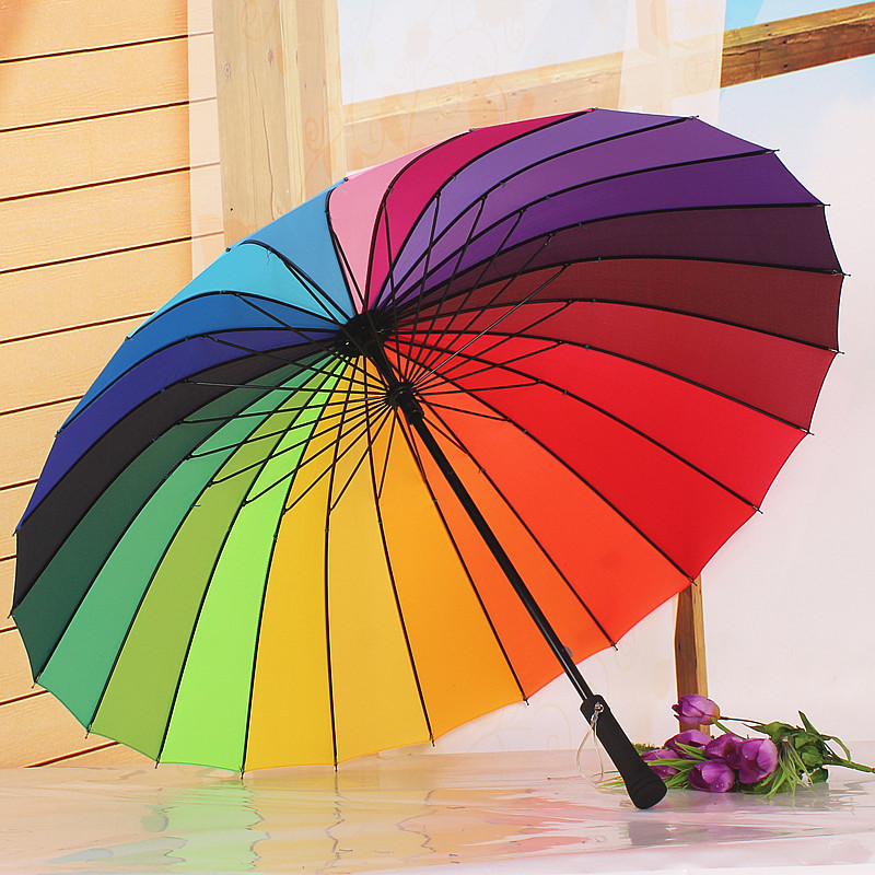 Free Shipping Top Quality 24k Color Rainbow Fashion Long Handle Straight Sun/Rain Stick Umbrella Manual Paraso #F274(China (Mainland))