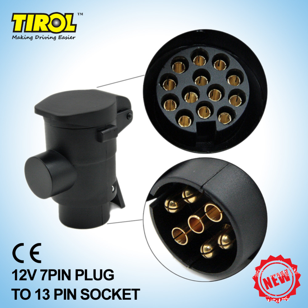TIROL T22808 New 7 To 13 Pin Trailer Plug Black frosted materials Trailer Wiring Connector 12V Towbar Towing Plug Free Shipping