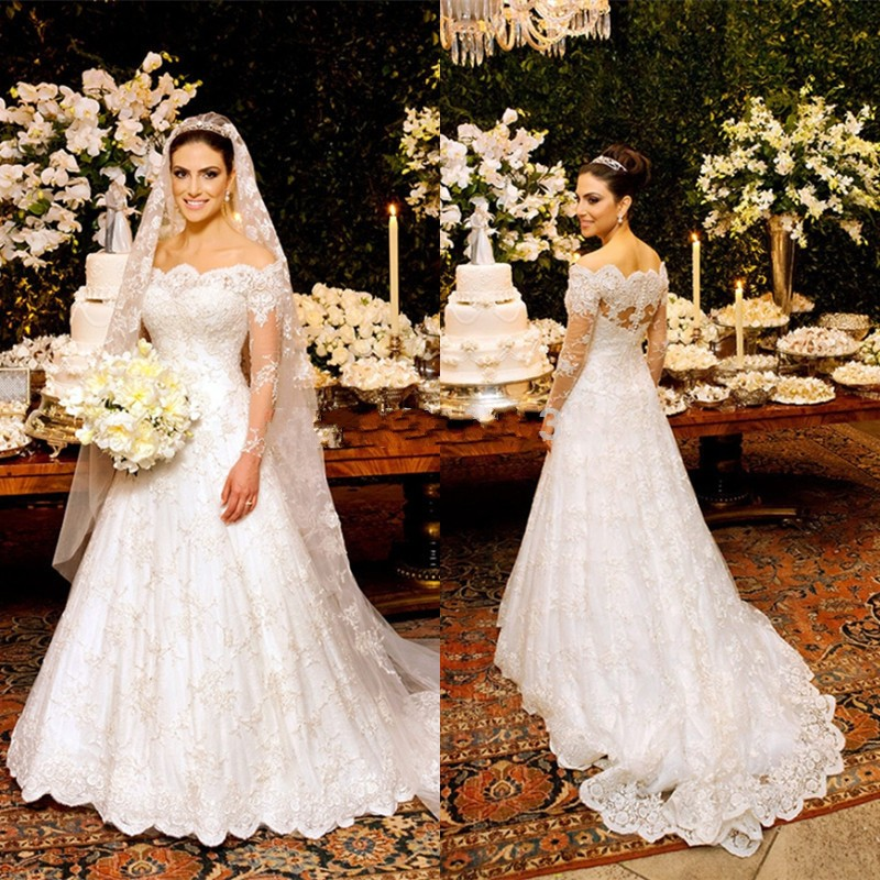 2016 vintage off shoulder wedding dresses long sleeve for Long sleeve plus size wedding dress