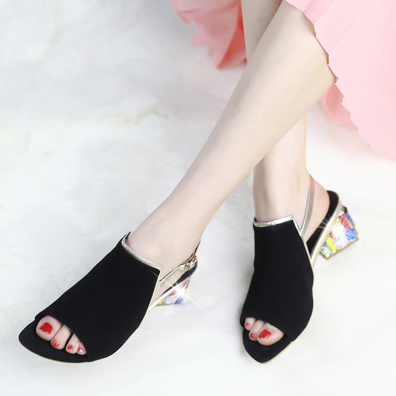 2016 new summer black and blue sheepskin genuine leather women sandals solid color rhinestone med heels wedding shoes