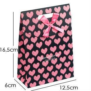 GAGA !16.5*12.3*6cm,  free shipping pink heart with pink ribbon  souvenir bag  ,100 pcs /lot , NO. 515-3