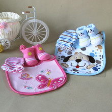 3 pieces  high quality baby products (Bib + anti scratch gloves + socks) for 0-6 Month