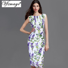 Vfemage Womens Elegant Summer Ruched Draped Floral Flower Printed Tunic Casual Party Bodycon Fitted Sheath Pencil Dress 2969(China (Mainland))