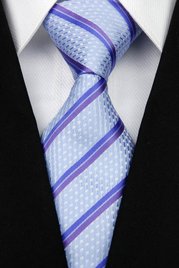 NT0116 Blue Purple Stripe Smooth Classic Silk Polyester Jacquard Woven Man s Business Wedding Luxury Tie