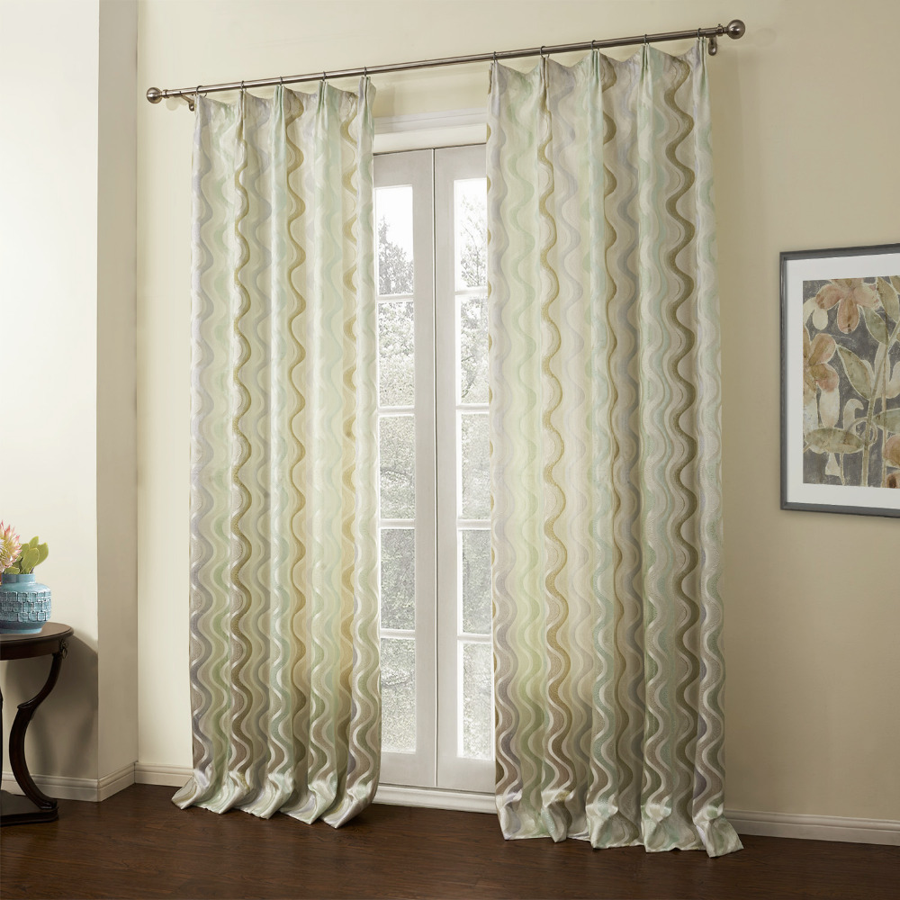 Twopages Double Pleated Wavy Line Jacquard Silk Energy Saving Curtain Drapes One Panel Custom