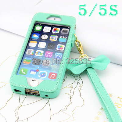 New! Princess Bow Lanyard Handbag PU Leather wallet Case for iphone 4 4s 5 5S 6 6g bow Strap Holster Pouch Mint Green(China (Mainland))