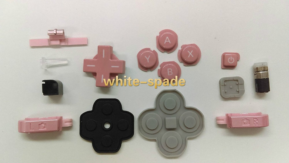 5sets /lot for Nintendo 3DS N3DS Original Barrel Hinge Axle With All Buttons And Silicone LR trigger PINK Color(China (Mainland))