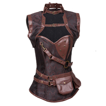 Women Steampunk Corset Brown Waist Training Corsets and Bustiers Top Gothic Clothing Corpetes Steel Boned Espartilhos S-XXL