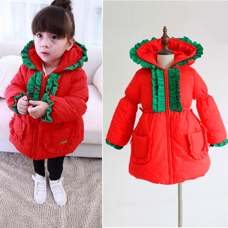 Children's clothing female child winter magic hat christmas thickening wadded jacket medium-long wadded jacket outerwear(China (Mainland))