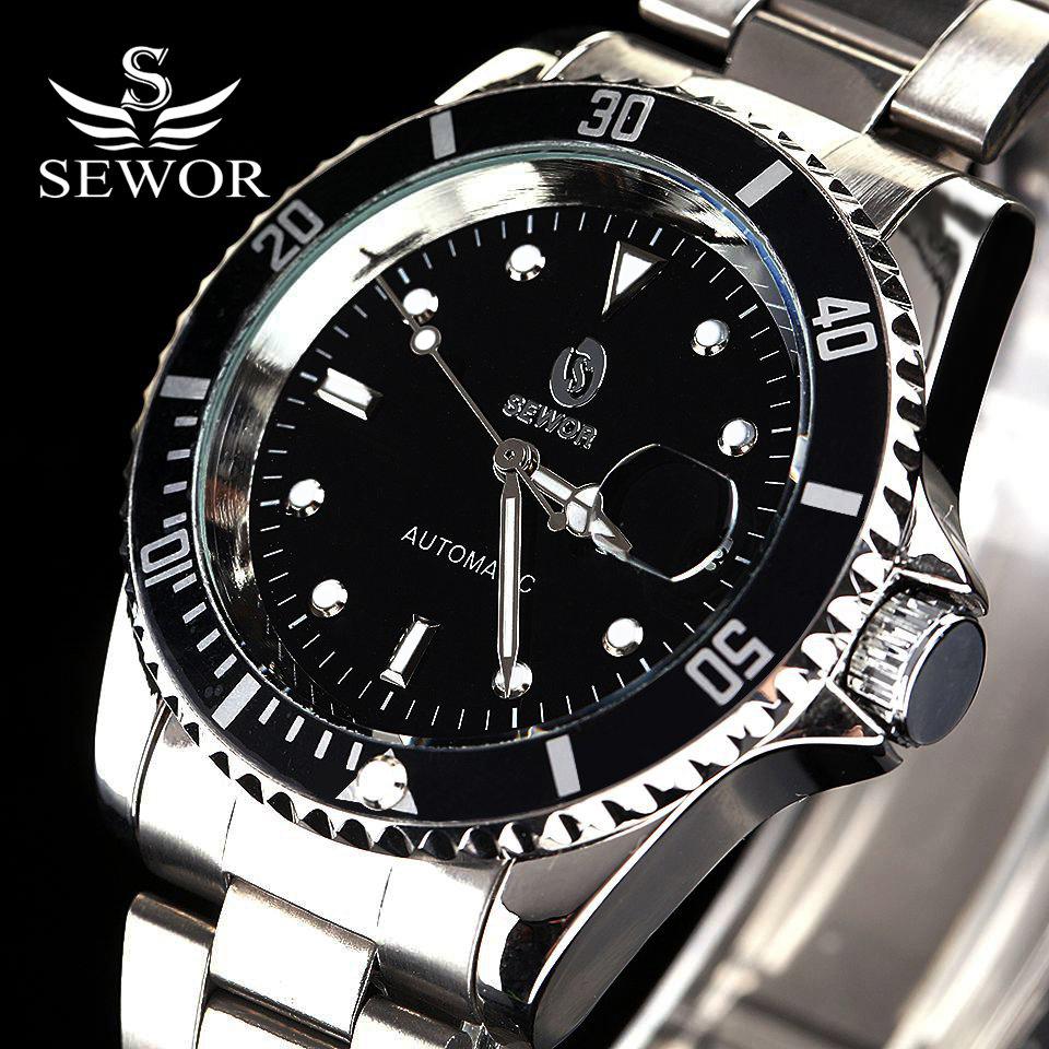 SEWOR Brand Business Casual Stainless Steel Mechanical Wristwatch Men Watch Gift Relojes De Marca Montre Reloj Watch XR1013