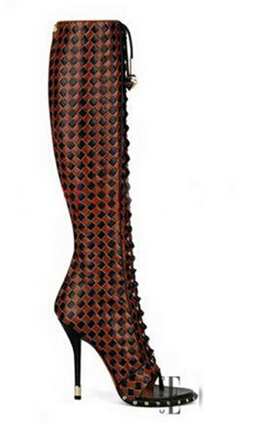 high quality peep toe lace up plaid leather knee high