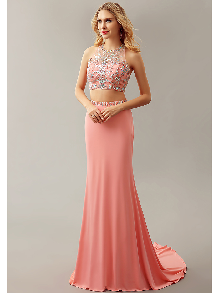 2016 New Coral Sexy Two 2 Pieces Mermaid Beaded Crystals Jersey Open Back College Girls Formal Evening Dresses Gowns Night Wear(China (Mainland))