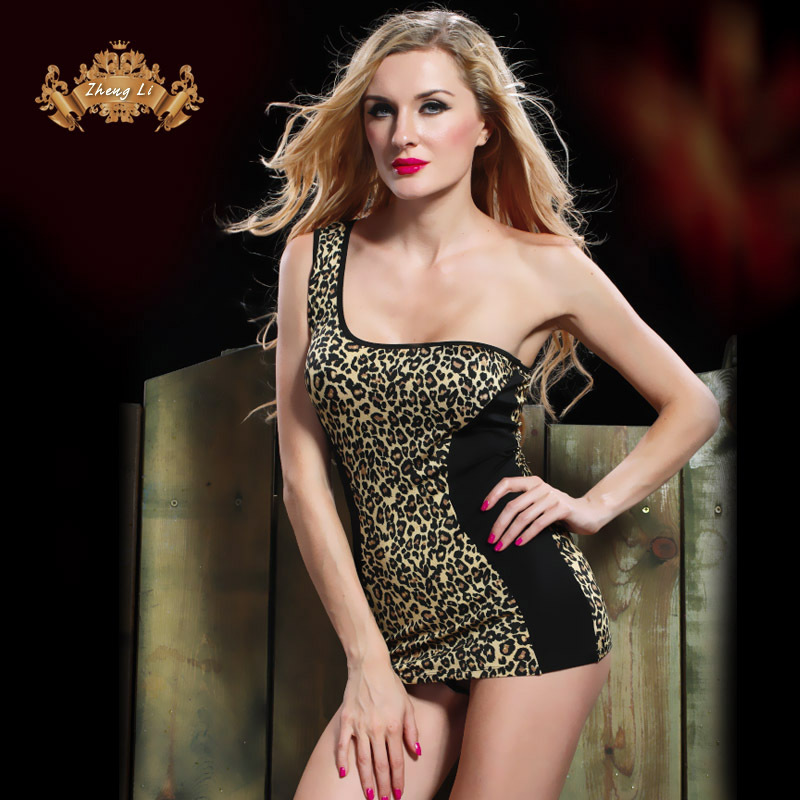 Leopard print sexy one oblique shoulder ultra-short nightgown 3699