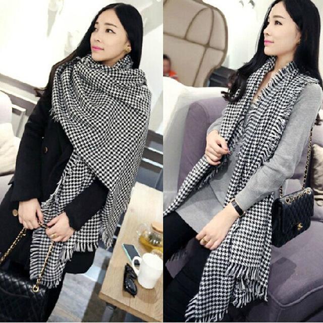 Зима плоувер чехол шарф европа марка черный белый плед пашмины кашемировые шали для мужчин / женщин длинный шарф воротник W1053