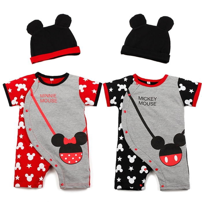 New Baby Boys Girls Clothes Baby Romper Children Clothing Sets Kids Clothes Minnie Mickey Cartoon Model Suits 4sets/lot(China (Mainland))