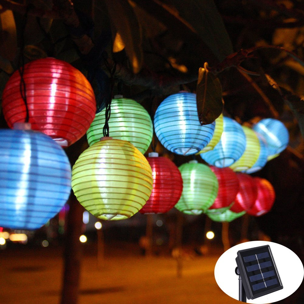 Lantern Ball Solar String Lights 30 LED Solar Lamp Outdoor Lighting Fairy Globe Christmas ...