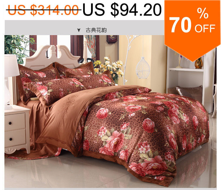 Chocolate Jacquard embroidered natural color cotton peony AB sides round corner sheet 4pcs bed textile/ B2241 Air shipping(China (Mainland))
