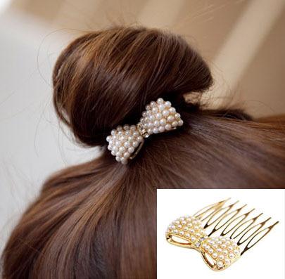 Nice Fashion Korea Bow Hair Accessories Pearl Hairpins Hair Combs For Women 013KKF(China (Mainland))