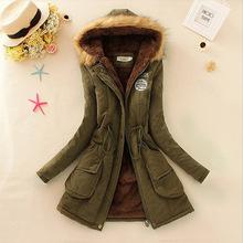 Nuevo 2015 engrosamiento largo abrigo militar con capucha Outerwears chaqueta de invierno mujeres abrigos de piel de mujer ropa Outwear Parkas Coat