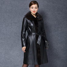 Genuine leather sheepskin Mink Fur collar Overcoat Women's Clothing Adjustable Waist Coats Wholesale factory direct supplier(China (Mainland))