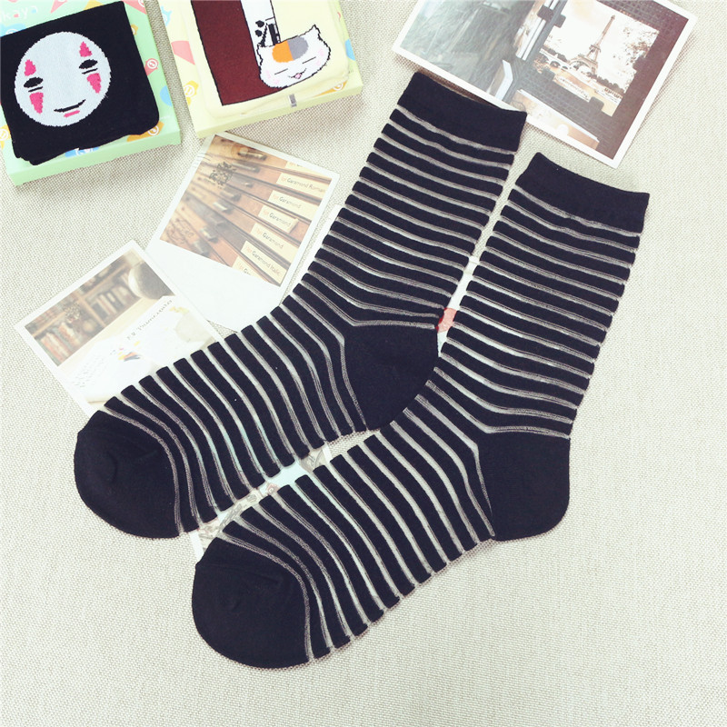 2015 spring and summer socks men new retro black and white striped stockings women vintage cotton socks winter free shipping(China (Mainland))