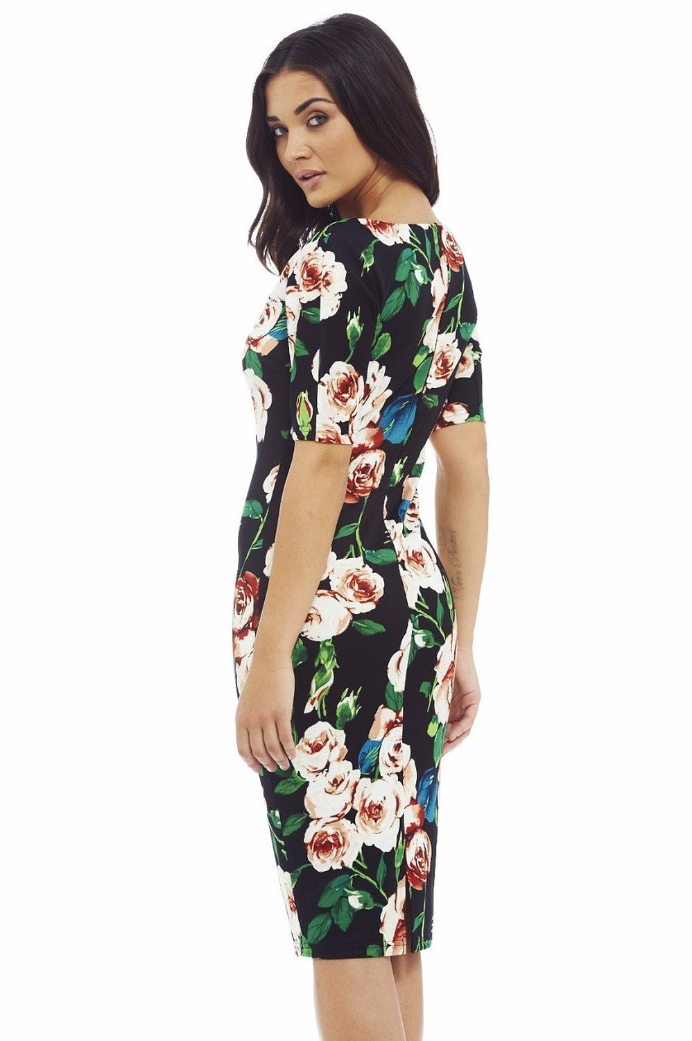 Fashion Free Shipping Designer Women Dress Elegant Floral Print Work Business Casual Party Pencil Sheath Vestidos 004