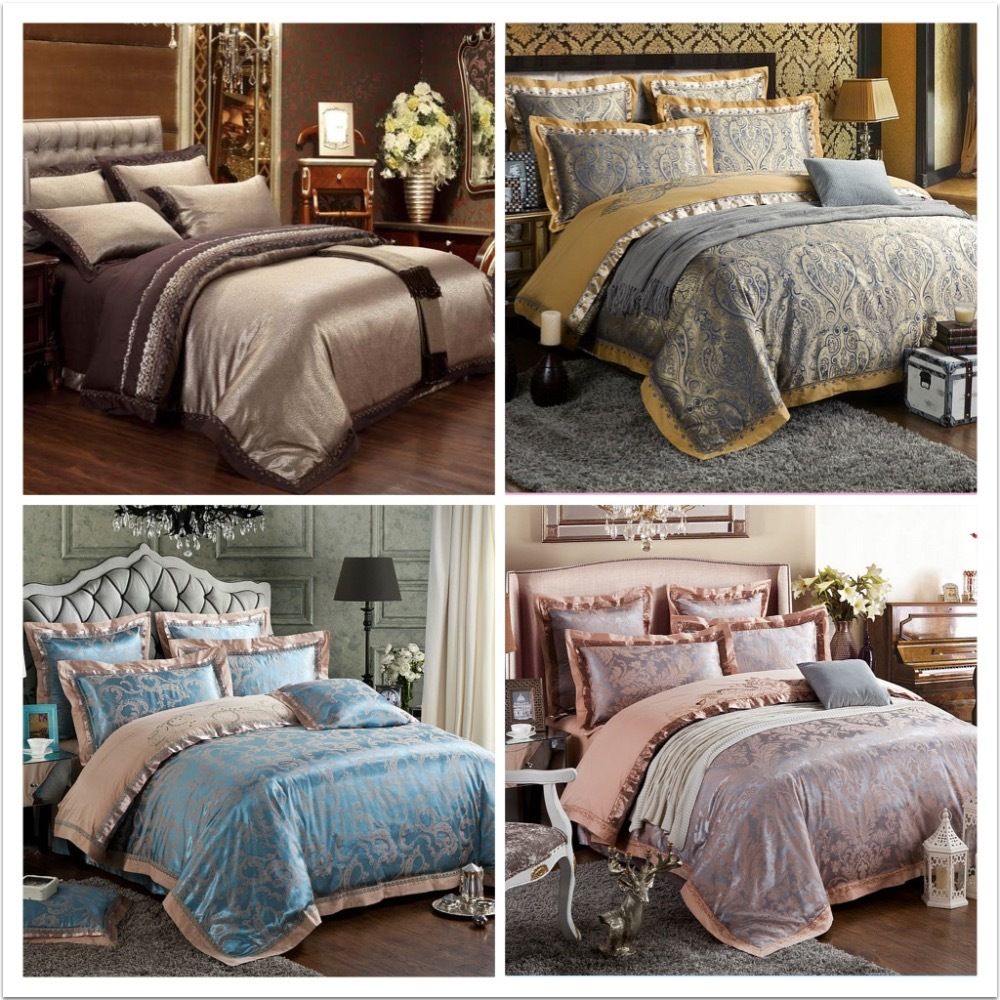 6pcs Luxury bedding set Silk bedclothes bed linen sets queen king size Quilt / duvet cover set bedsheets satin bed cover(China (Mainland))