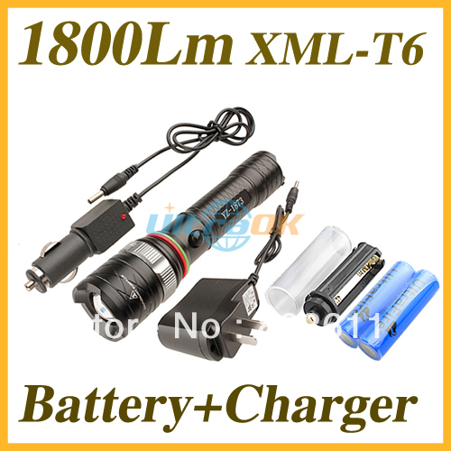 1800Lm Cree XML-T6 LED 3-Mode Zoomable Aluminum  Flashlight Torch + 2x 18650 2400mAh battery + 1x AC Charger + 1x Car Charger