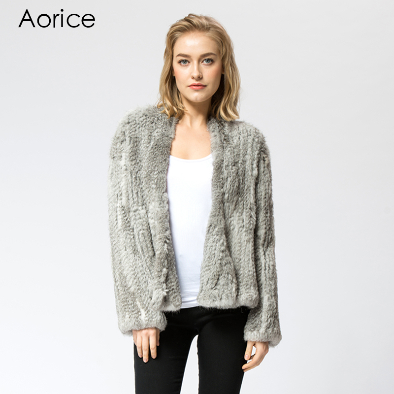 CR002-2 Knitted knit 100% genuine real rabbit fur coat overcoat jacket Russian women's winter warm out coat(China (Mainland))