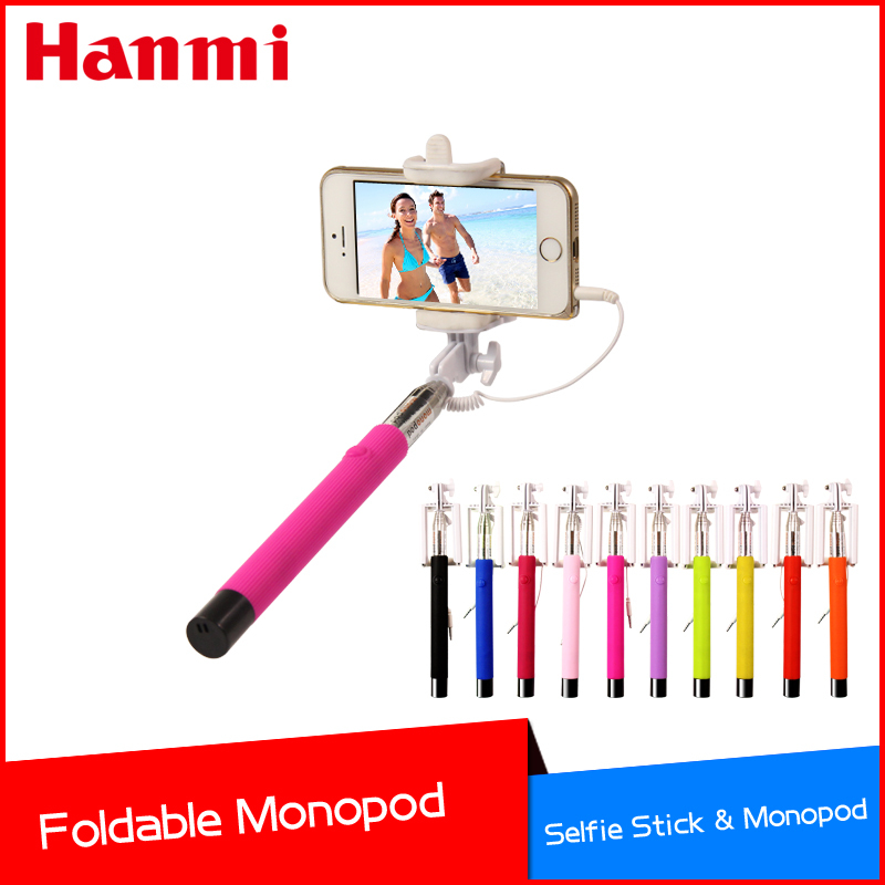 hot new arrival wired mobile phone monopod tripod selfie stick for iphone. Black Bedroom Furniture Sets. Home Design Ideas