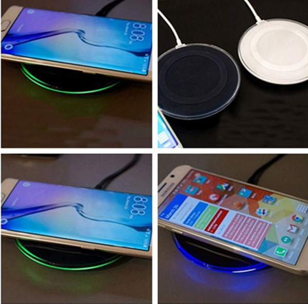 1 Pc/lot Qi Wireless Charger Charging Pad with USB Cable and LED Indicator for Samsung Galaxy S6/S6 Edge