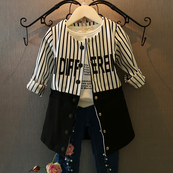 Fashion girls long coat children spring jacket striped Splice back cool outerwear jackets girl kids clothing <br><br>Aliexpress