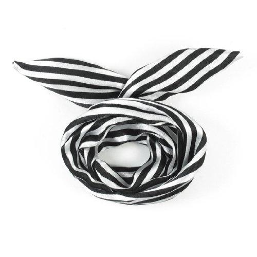 FABY White/Black Women Striped Print Fabric Coated Wire Hair Wrap Scarf HeadBand(China (Mainland))