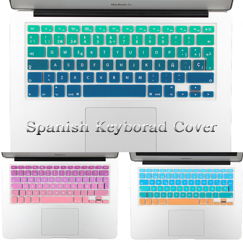 "New EU/UK layout Spanish Ombre Colors Keyboard Cover Silicone Skin for MacBook Pro 13"" 15"" Retina for iMac & MacBook Air 13""(China (Mainland))"