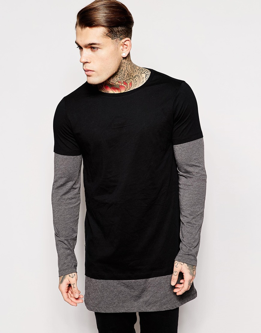 longline long sleeve t shirt extra length t shirt solid tall tee men ...