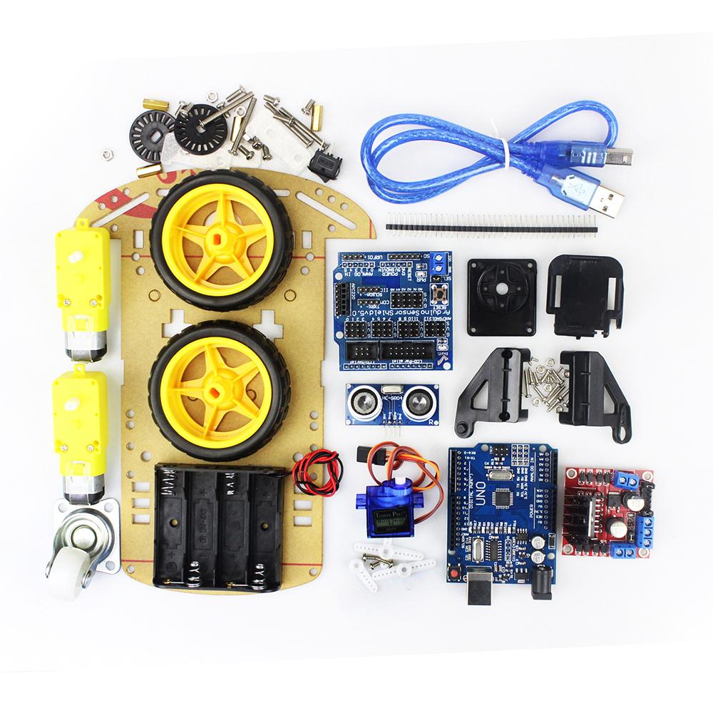 Free tracking Motor Smart Robot Car Chassis Kit Speed Encoder Battery Box 2WD Ultrasonic module Arduino kits