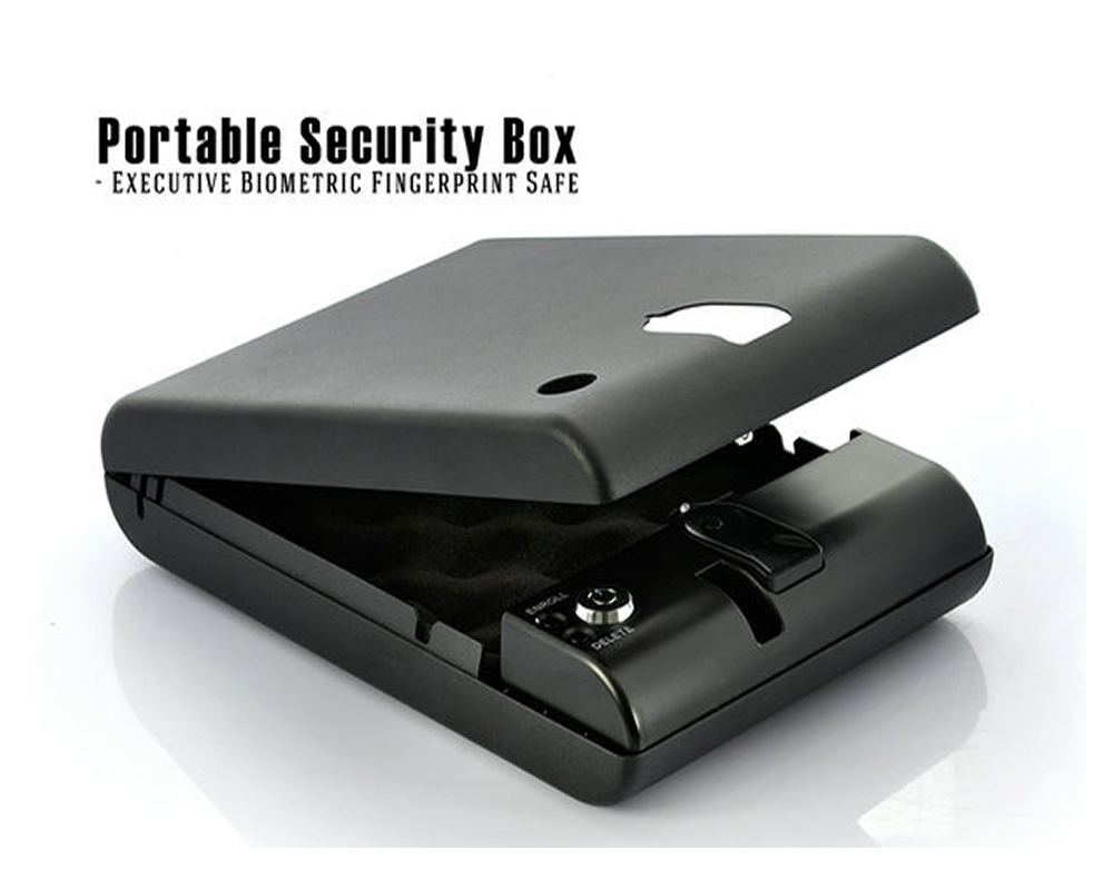 FreeShipping OSPON OS120B Portable Biometric Fingerprint Gun Pistol Safe Jewelry Handgun Safe Box Security Box Hidden in Bedroom(China (Mainland))