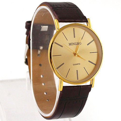 New 2014 Fashion Ultra-Thin sample casual Business PU Leather Strap Watches Men Quartz Watch Gold - Leader Home store
