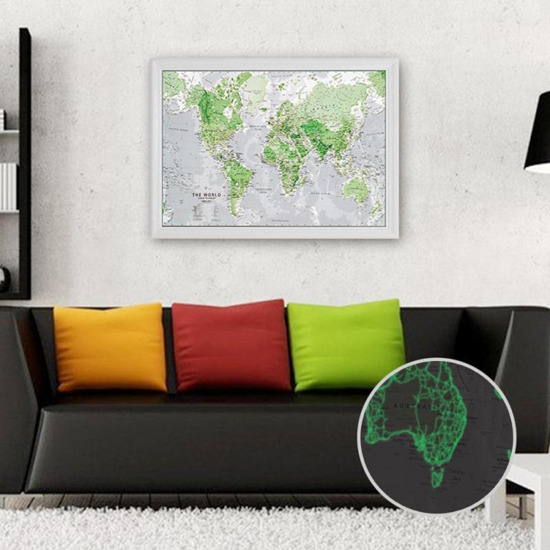Luminous 60x86cm World Map Glow In The Dark Education Wall Luminous Wall Sticker Tool Mural Poster Kids Learning Novelty W45(China (Mainland))