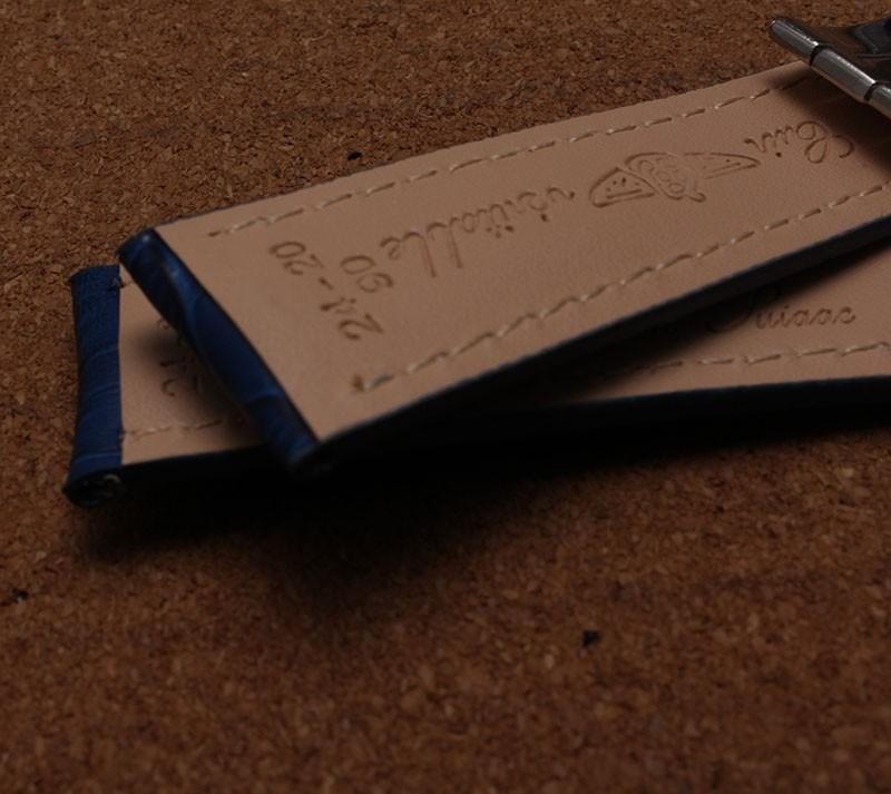 Темно-синий ремешки 22 мм 24 мм ремешок для часов крокодил зерна часы браслет с серебряной застежкой развертывания белыми нитками линия мода