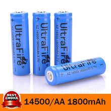 4Pcs 14500 1800mAh 3.7V Li-ion Lithium Rechargeable Battery AA Batteries For Cree Led Flashlight