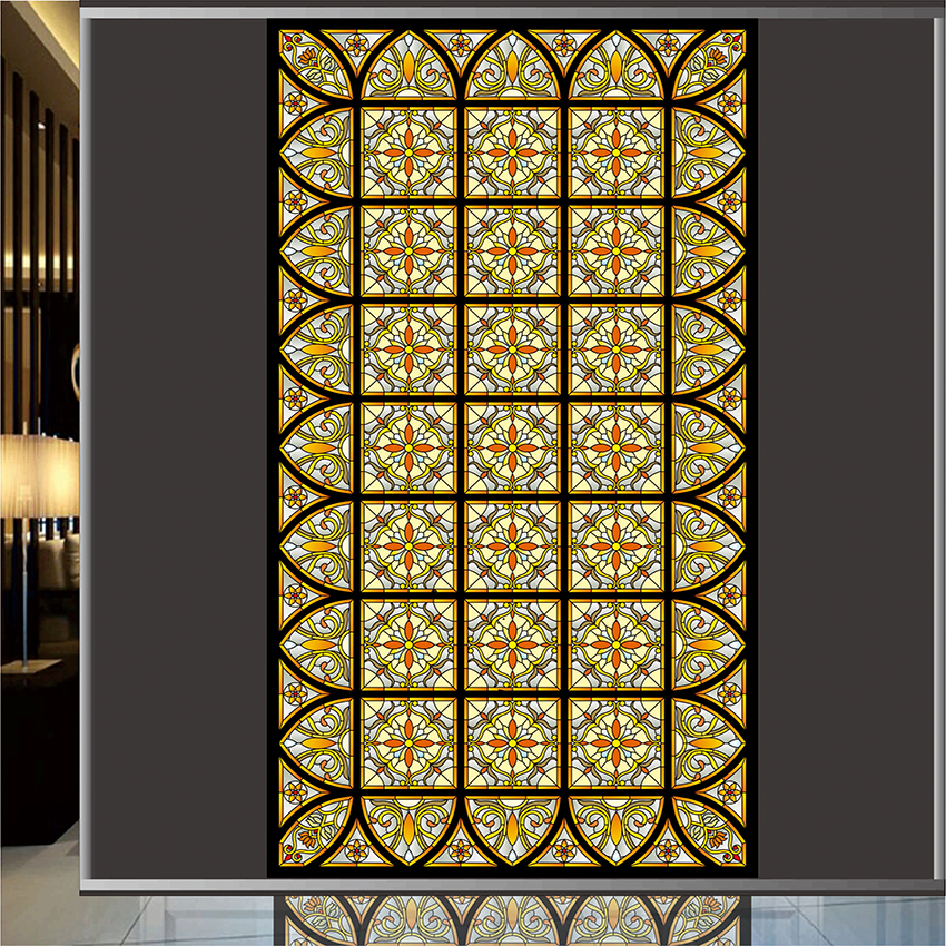 Stained glass window film menards static window cling art for Stained glass window film